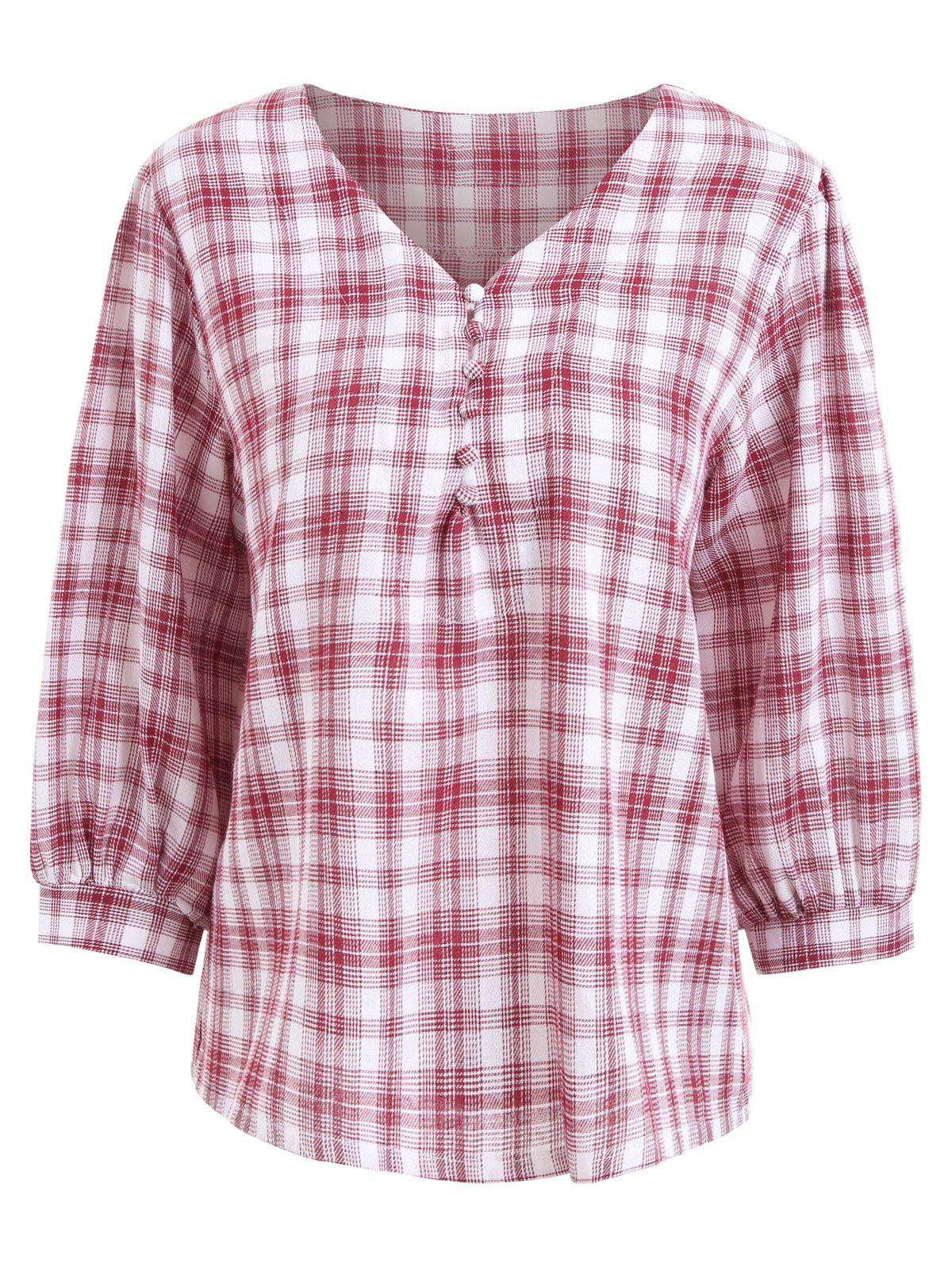 Plus Size V Neck Plaid BlouseWOMEN<br><br>Size: 4XL; Color: RED; Material: Cotton,Polyester; Shirt Length: Regular; Sleeve Length: Three Quarter; Collar: V-Neck; Style: Fashion; Season: Fall; Embellishment: Button; Pattern Type: Plaid; Weight: 0.2450kg; Package Contents: 1 x Blouse;