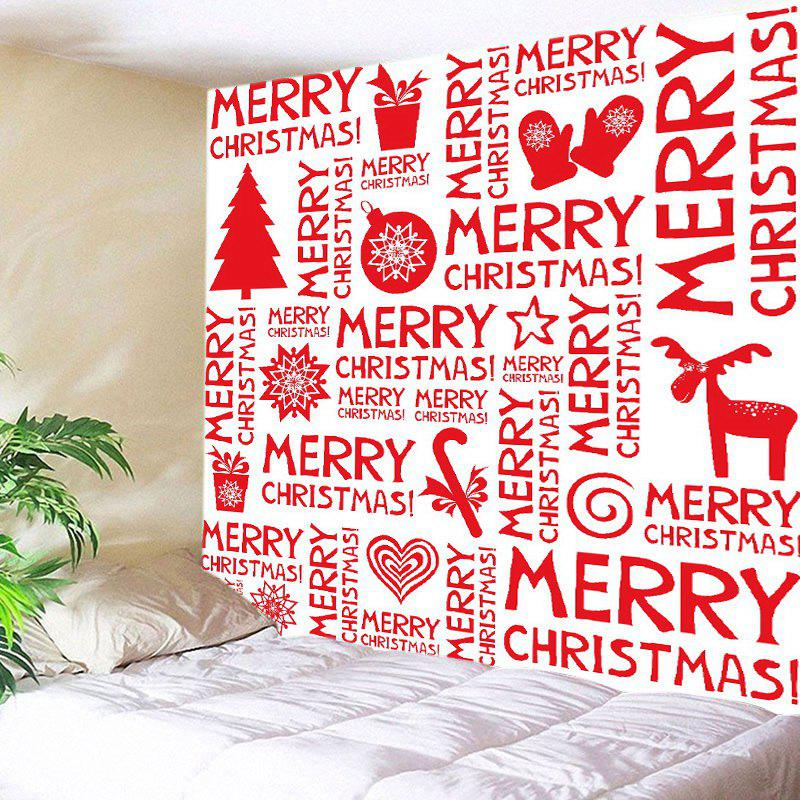 Merry Christmas Letter Print Tapestry Wall Hanging Art DecorationHOME<br><br>Size: W91 INCH * L71 INCH; Color: RED; Style: Festival; Theme: Christmas; Material: Polyester; Feature: Washable; Shape/Pattern: Letter; Weight: 0.4000kg; Package Contents: 1 x Tapestry;