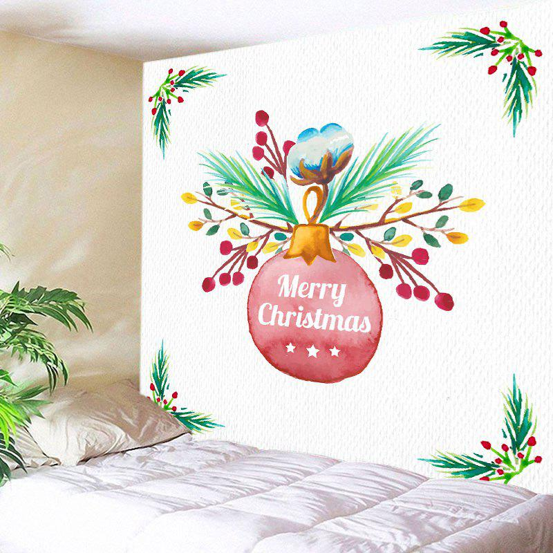 Chic Merry Christmas Bauble Print Tapestry Wall Hanging Art Decoration