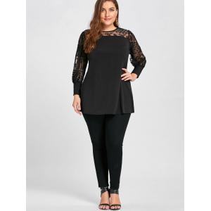 See Through Yoke Panel Plus Size A Line Top -