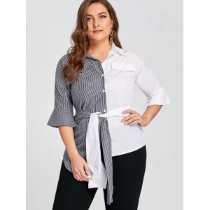 Plus Size Contrast Striped Shirt with Belt - GREY AND WHITE 3XL