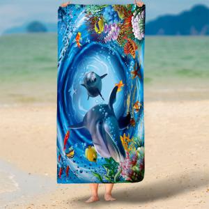 3D Dolphin Printed Water Absorption Bath Towel -