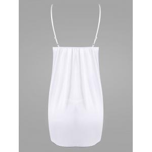 Slip Lace Trim Plunge Babydoll - Blanc TAILLE MOYENNE
