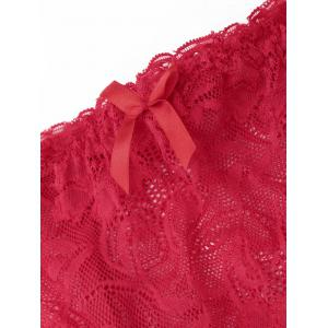 Lace Garter Skirt with T-back - RED M