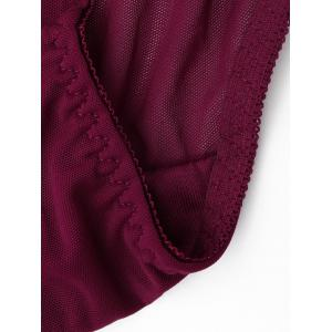 Mesh Lace Insert Sheer Panties - BURGUNDY ONE SIZE