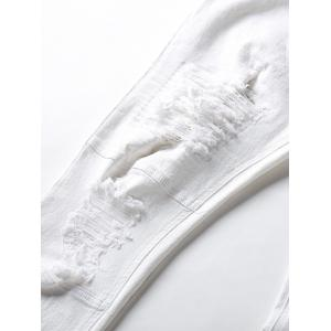 Classical Straight Leg Ripped Jeans - WHITE 30