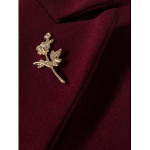 Floral Brooch One Button Lapel Waistcoat - WINE RED 3XL
