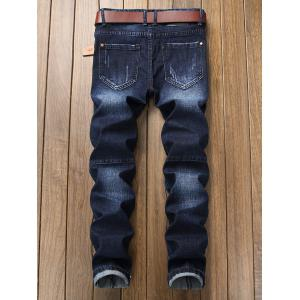 Zip Fly Distressed Hem Straight Biker Jeans -
