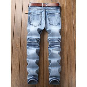 Zip Fly Checked Distressed Jeans -
