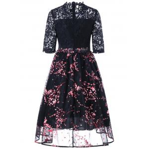 Lace Insert Floral Print Midi Dress - Noir M