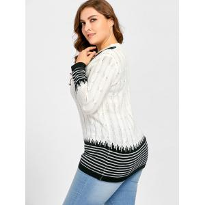 Plus Size Striped V Neck Long Sweater -