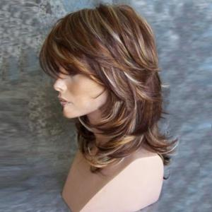 Medium Inclined Bang Highlighted Layered Slightly Curled Synthetic Wig -