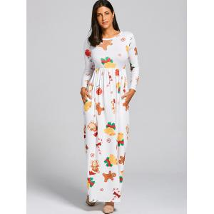 Christmas Snowflake Bell Bear Print Maxi Dress - WHITE M
