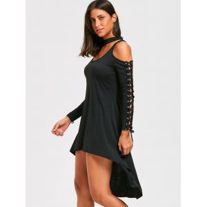 Open Shoulder Lace-up High Low Choker Dress -