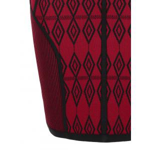 V Neck Geometric Jacquard Bandage Dress - Rouge M