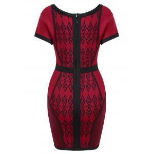V Neck Geometric Jacquard Bandage Dress -
