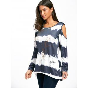 Long Sleeve Cold Shoulder Printed Tunic Top -