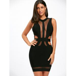 Sleeveless Mesh Insert Cut Out Bandage Dress - BLACK S