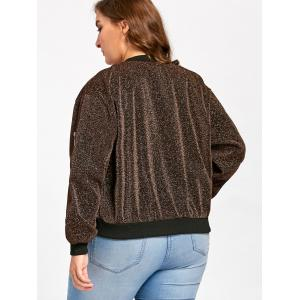 Plus Size Zip Up Sparkly  Bomber Jacket - GOLD BROWN 3XL