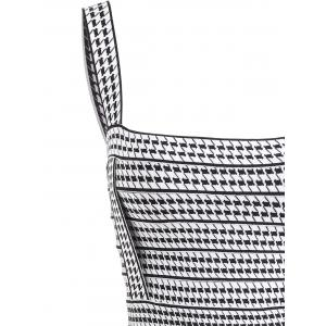 Houndstooth Square Neck  Bandage Dress - BLACK WHITE S