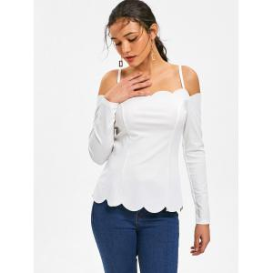 Scalloped Long Sleeve Spaghetti Strap Top -