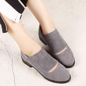 Hollow Out Low Heel Fringe Flat Shoes - GRAY 37