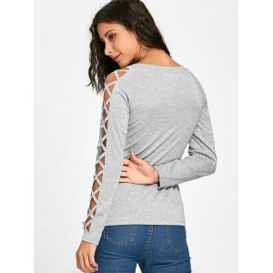 Cut Out Raglan Sleeve Plain T-Shirt -