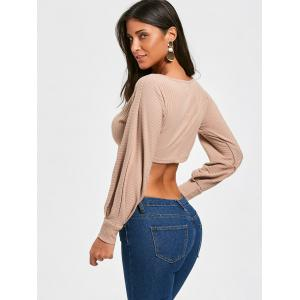 Ribbed Long Sleeve Self Tie Cropped Top -