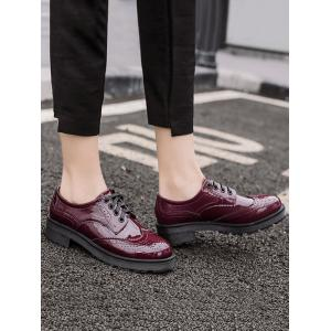 Brogues Wingtip Contrast Color Flat Shoes -