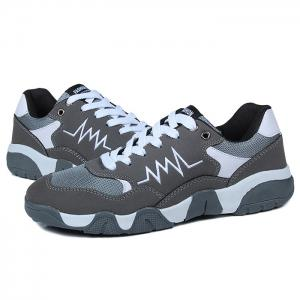 Color Block Zigzag Embroidery Mesh Panel Sneakers -