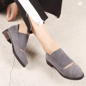 Hollow Out Low Heel Fringe Flat Shoes -