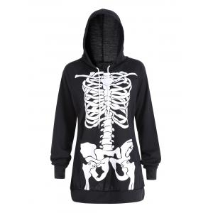 Halloween Plus Size Skeleton Printed Hoodie -