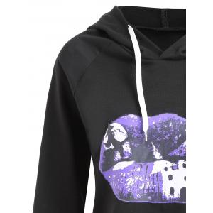 Plus Size Halloween Moon Lip Print Hoodie -