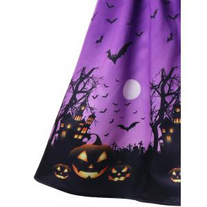 Halloween Mesh Insert Bat taille citrouille Plus Size patineuse -