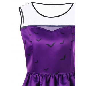 Halloween Mesh Insert Bat Pumpkin Plus Size Skater Dress -