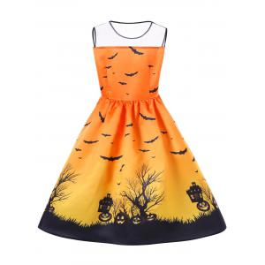 Halloween Mesh Panel Plus Size A Line Skater Dress -