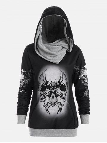 Outfit Halloween Skull and Wings Print Hoodie - XL GRAY Mobile