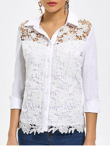Outfits Button Up Lace Hollow Out Shirt - L WHITE Mobile