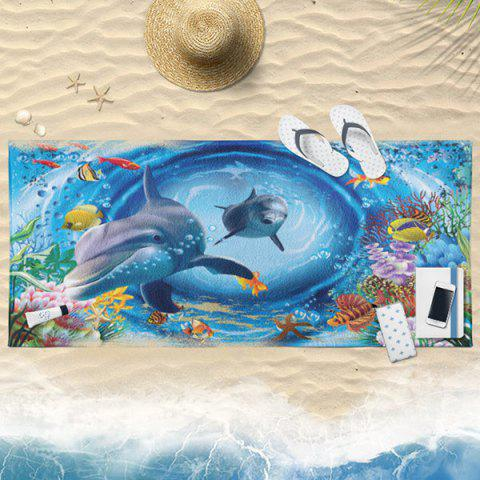 Latest 3D Dolphin Printed Water Absorption Bath Towel