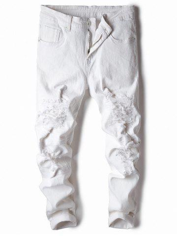 Sale Classical Straight Leg Ripped Jeans WHITE 30