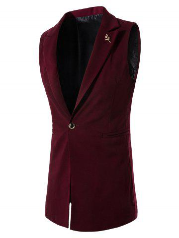 Affordable Floral Brooch One Button Lapel Waistcoat WINE RED 3XL