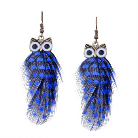 Navy blue alloy feather owl fish hook earrings for Owl fish clothing