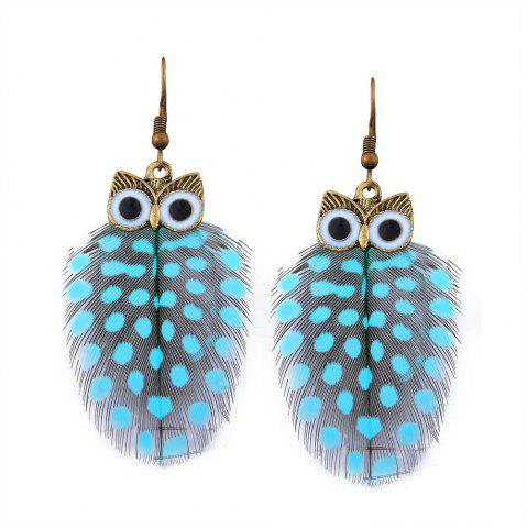 Light blue alloy feather owl fish hook earrings for Owl fish clothing
