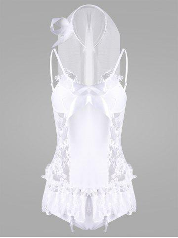 Best Flounce Lace Bride Babydoll Costume WHITE ONE SIZE