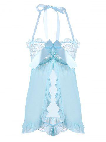Trendy Mesh Ruffles Halter Split Babydoll - ONE SIZE CLOUDY Mobile