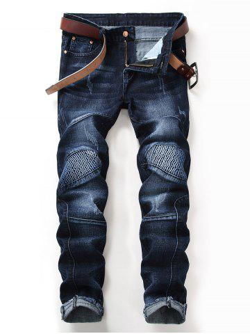Zip Fly Distressed Hem Straight Biker Jeans