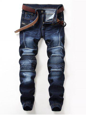 Chic Stitching Design Zip Fly Jogger Jeans - 32 DEEP BLUE Mobile