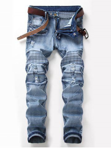 Zip Fly Checked Distressed Jeans Bleu clair 36
