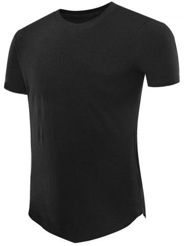 Buy Short Sleeve V Neck Tee with V Hem BLACK 2XL
