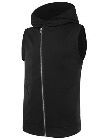 Affordable Two Tone Asymmetrical Zip Up Hooded Vest BLACK 2XL